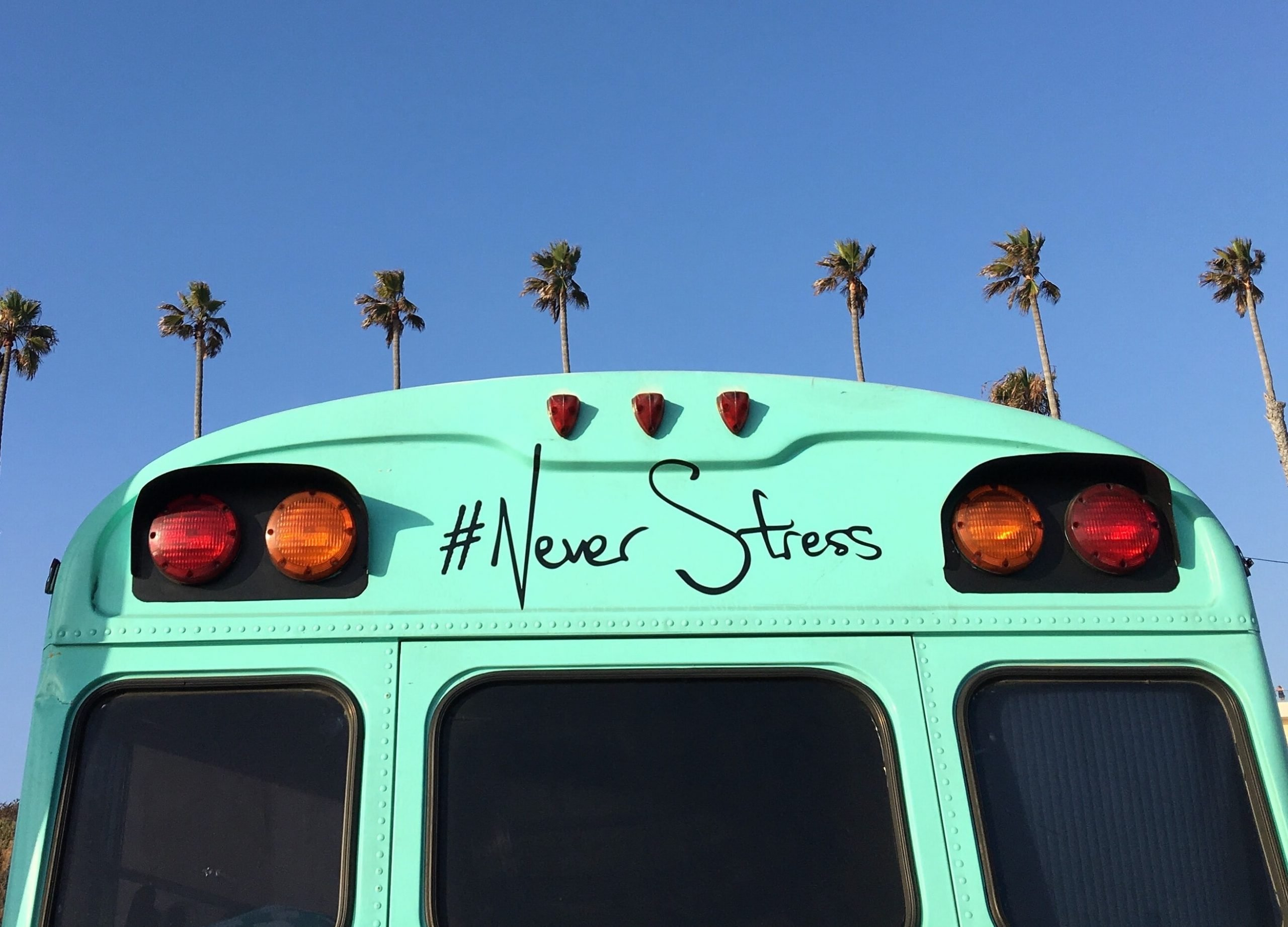 Bus with text '#Never Stress'